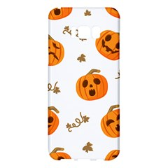 Funny Spooky Halloween Pumpkins Pattern White Orange Samsung Galaxy S8 Plus Hardshell Case