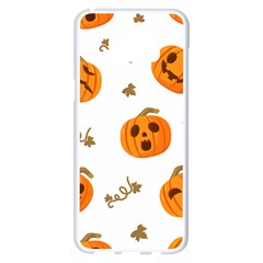 Funny Spooky Halloween Pumpkins Pattern White Orange Samsung Galaxy S8 Plus White Seamless Case