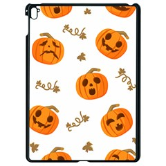 Funny Spooky Halloween Pumpkins Pattern White Orange Apple Ipad Pro 9 7   Black Seamless Case