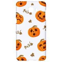 Funny Spooky Halloween Pumpkins Pattern White Orange Samsung C9 Pro Hardshell Case