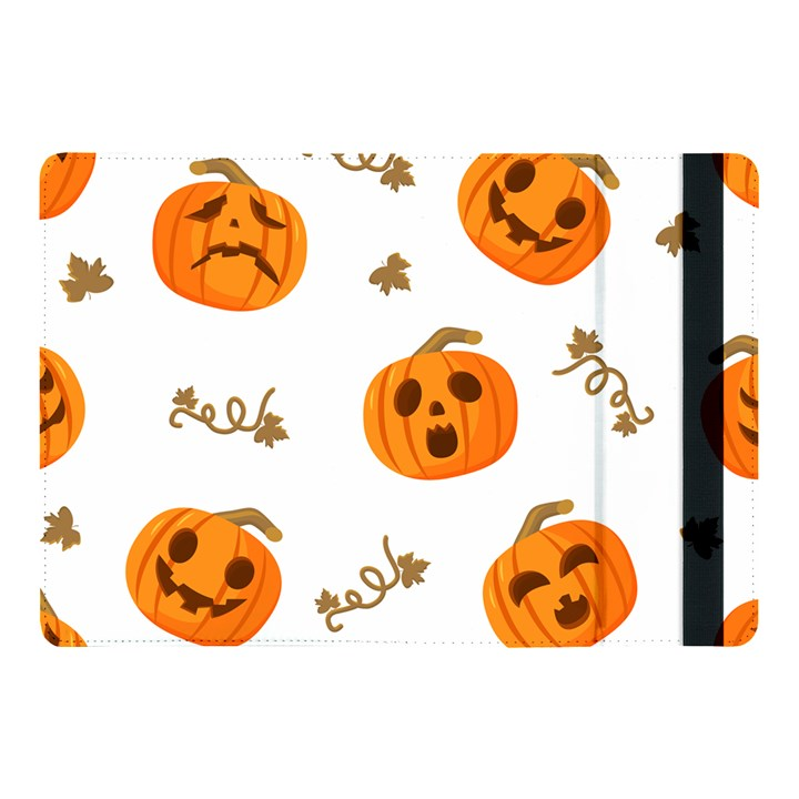 Funny Spooky Halloween Pumpkins Pattern White Orange Apple iPad Pro 10.5   Flip Case