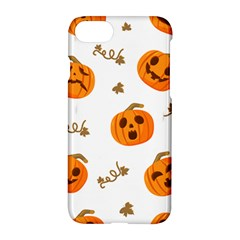 Funny Spooky Halloween Pumpkins Pattern White Orange Apple Iphone 8 Hardshell Case by HalloweenParty