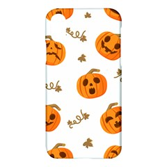 Funny Spooky Halloween Pumpkins Pattern White Orange Apple Iphone X Hardshell Case by HalloweenParty