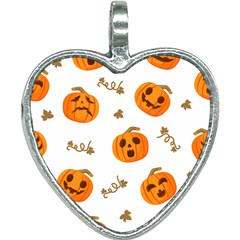 Funny Spooky Halloween Pumpkins Pattern White Orange Heart Necklace by HalloweenParty