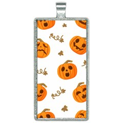 Funny Spooky Halloween Pumpkins Pattern White Orange Rectangle Necklace