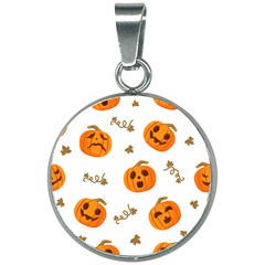 Funny Spooky Halloween Pumpkins Pattern White Orange 20mm Round Necklace by HalloweenParty