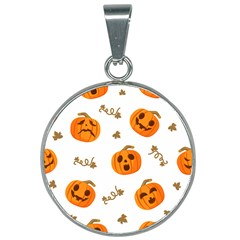 Funny Spooky Halloween Pumpkins Pattern White Orange 25mm Round Necklace
