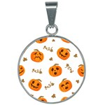 Funny Spooky Halloween Pumpkins Pattern White Orange 25mm Round Necklace Front