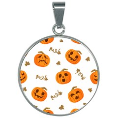 Funny Spooky Halloween Pumpkins Pattern White Orange 30mm Round Necklace by HalloweenParty