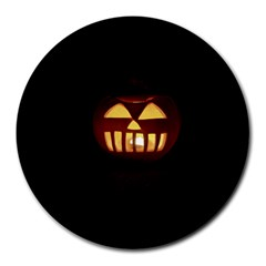 Funny Spooky Scary Halloween Pumpkin Jack O Lantern Round Mousepads by HalloweenParty