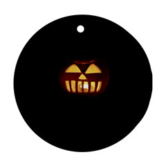 Funny Spooky Scary Halloween Pumpkin Jack O Lantern Ornament (round)