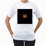 Funny Spooky Scary Halloween Pumpkin Jack O Lantern Women s T-Shirt (White) (Two Sided) Front
