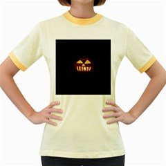 Funny Spooky Scary Halloween Pumpkin Jack O Lantern Women s Fitted Ringer T-Shirt