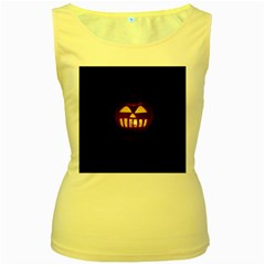 Funny Spooky Scary Halloween Pumpkin Jack O Lantern Women s Yellow Tank Top