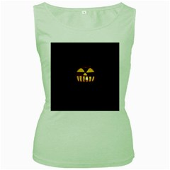 Funny Spooky Scary Halloween Pumpkin Jack O Lantern Women s Green Tank Top