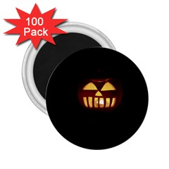 Funny Spooky Scary Halloween Pumpkin Jack O Lantern 2 25  Magnets (100 Pack)