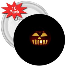 Funny Spooky Scary Halloween Pumpkin Jack O Lantern 3  Buttons (10 Pack)