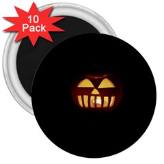 Funny Spooky Scary Halloween Pumpkin Jack O Lantern 3  Magnets (10 pack)