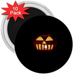 Funny Spooky Scary Halloween Pumpkin Jack O Lantern 3  Magnets (10 pack)  Front
