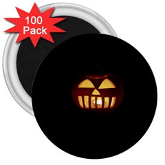 Funny Spooky Scary Halloween Pumpkin Jack O Lantern 3  Magnets (100 Pack)