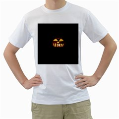 Funny Spooky Scary Halloween Pumpkin Jack O Lantern Men s T-Shirt (White) (Two Sided)