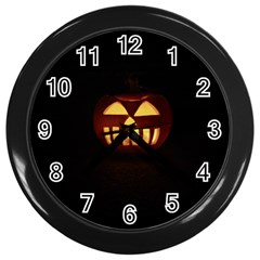Funny Spooky Scary Halloween Pumpkin Jack O Lantern Wall Clock (black)