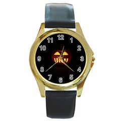 Funny Spooky Scary Halloween Pumpkin Jack O Lantern Round Gold Metal Watch