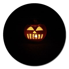 Funny Spooky Scary Halloween Pumpkin Jack O Lantern Magnet 5  (round)