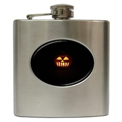 Funny Spooky Scary Halloween Pumpkin Jack O Lantern Hip Flask (6 Oz) by HalloweenParty
