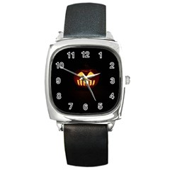 Funny Spooky Scary Halloween Pumpkin Jack O Lantern Square Metal Watch
