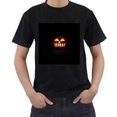 Funny Spooky Scary Halloween Pumpkin Jack O Lantern Men s T Shirt (black) (two Sided)