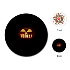 Funny Spooky Scary Halloween Pumpkin Jack O Lantern Playing Cards (Round)