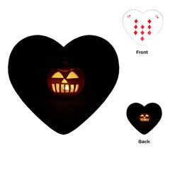 Funny Spooky Scary Halloween Pumpkin Jack O Lantern Playing Cards (Heart)