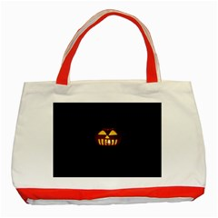 Funny Spooky Scary Halloween Pumpkin Jack O Lantern Classic Tote Bag (red)