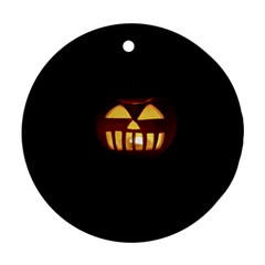Funny Spooky Scary Halloween Pumpkin Jack O Lantern Round Ornament (two Sides)