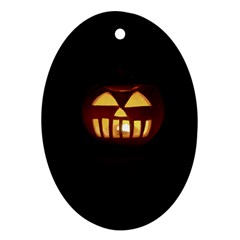Funny Spooky Scary Halloween Pumpkin Jack O Lantern Oval Ornament (two Sides) by HalloweenParty
