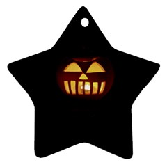 Funny Spooky Scary Halloween Pumpkin Jack O Lantern Star Ornament (Two Sides)