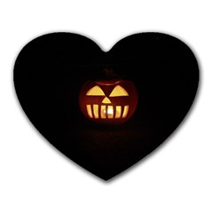 Funny Spooky Scary Halloween Pumpkin Jack O Lantern Heart Mousepads by HalloweenParty