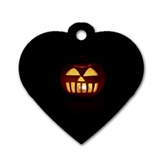 Funny Spooky Scary Halloween Pumpkin Jack O Lantern Dog Tag Heart (two Sides)