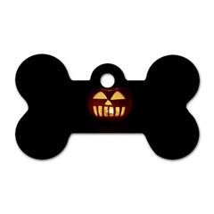 Funny Spooky Scary Halloween Pumpkin Jack O Lantern Dog Tag Bone (two Sides)