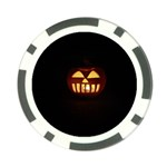 Funny Spooky Scary Halloween Pumpkin Jack O Lantern Poker Chip Card Guard Front