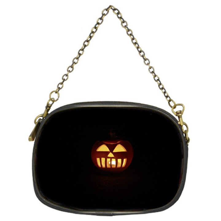 Funny Spooky Scary Halloween Pumpkin Jack O Lantern Chain Purse (Two Sides)