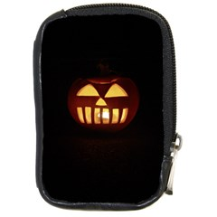Funny Spooky Scary Halloween Pumpkin Jack O Lantern Compact Camera Leather Case