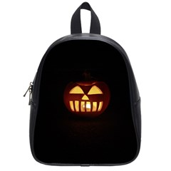 Funny Spooky Scary Halloween Pumpkin Jack O Lantern School Bag (small) by HalloweenParty