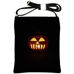 Funny Spooky Scary Halloween Pumpkin Jack O Lantern Shoulder Sling Bag by HalloweenParty