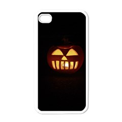 Funny Spooky Scary Halloween Pumpkin Jack O Lantern Apple Iphone 4 Case (white)