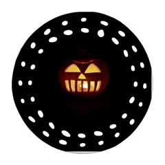 Funny Spooky Scary Halloween Pumpkin Jack O Lantern Round Filigree Ornament (two Sides)