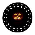 Funny Spooky Scary Halloween Pumpkin Jack O Lantern Round Filigree Ornament (Two Sides) Front