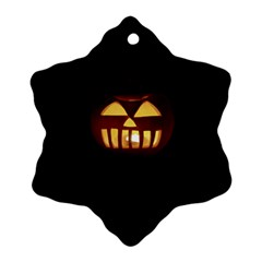 Funny Spooky Scary Halloween Pumpkin Jack O Lantern Snowflake Ornament (two Sides) by HalloweenParty