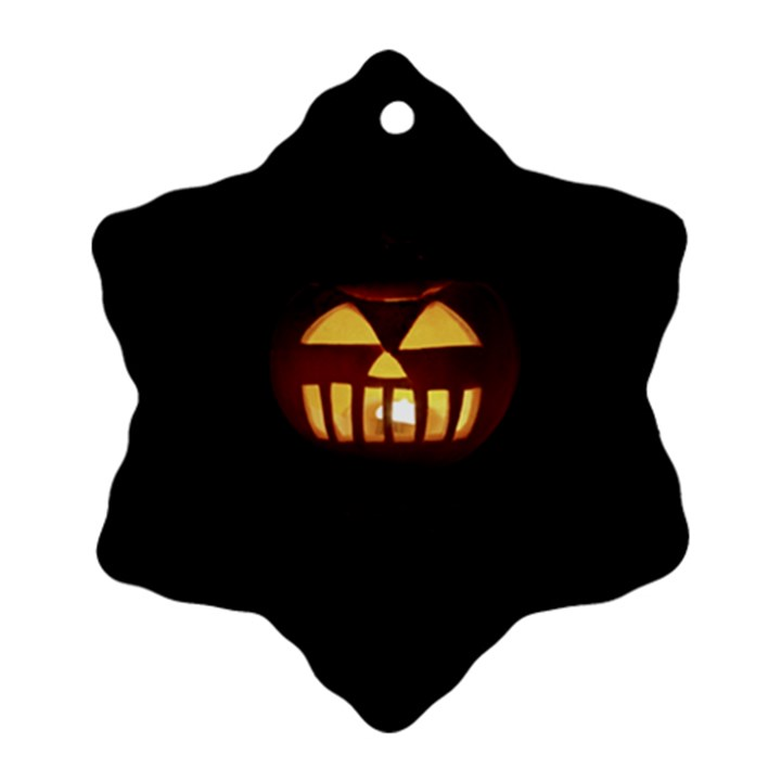 Funny Spooky Scary Halloween Pumpkin Jack O Lantern Snowflake Ornament (Two Sides)
